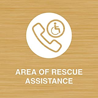 iCandy Products Inc Area of Rescue Assistance, Handicap Help Hotel Business Office Building Sign 9x9 Inches, Bamboo, Metal
