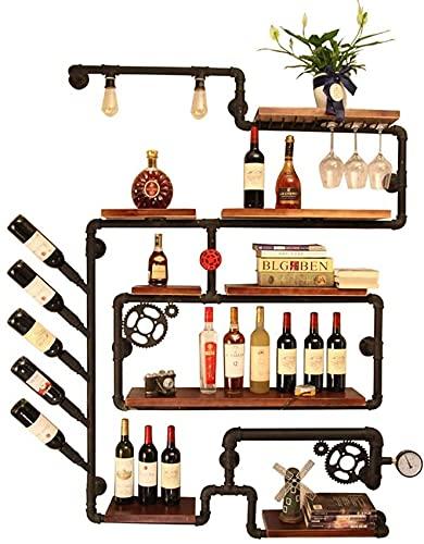 AMAFS Estante para vinos, Estante para vinos de Metal para Montar en la Pared, Estante para Copas de Vino, para Colgar Tubos, Soporte para Botellas, Estante Flotante de Madera, Estante de exhibición