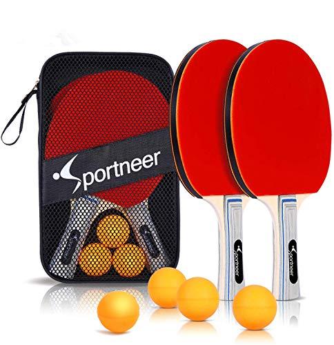 Raquetas de Tenis de Mesa, Sportneer 2 Raquetas de Ping Pong Profesional, 4 Pelotas de Tenis de Mesa, Set de Ping Pong para Juego de Interior al Aire Libre