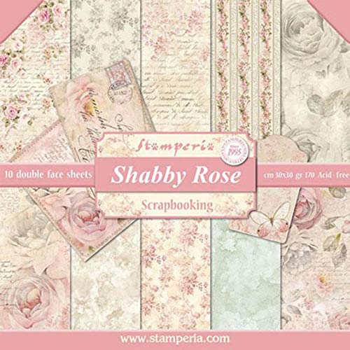 "Stamperia Double-Sided Paper Pad 12""X12"" 10/Pkg-Shabby Rose, 10 Designs/1 Each"