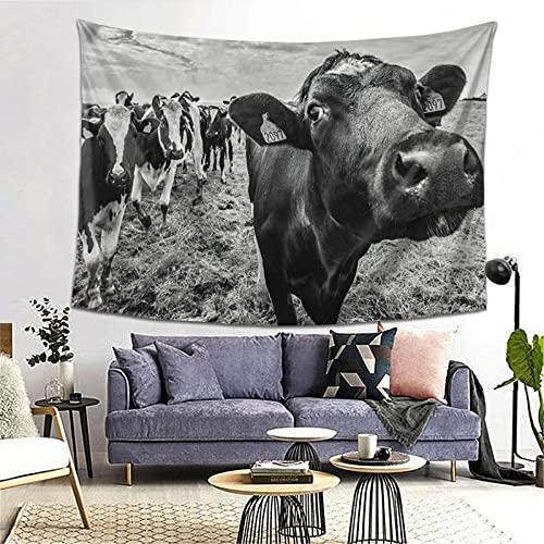 FOURFOOL Tapiz,Vaca de granja blanco y negro,Decoración de la Pared Manta Arte de la Pared Tapiz Dormitorio Sala de Estar Toalla de Playa