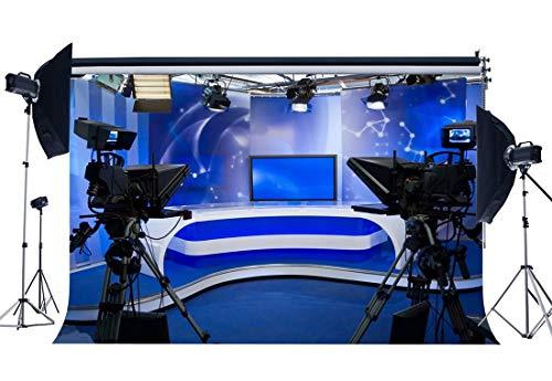 BuEnn 5X3FT Estación TV Fondo Telón Fondo Transmisión Directa Telones Fondo Luces Brillantes Escenario Luces Vivo Sala Noticias Vivo Fondo Pantalla para Retratos BroadcastRoom fotográfico YX464
