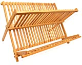 Dish Drying Rack Bamboo Dish Rack Collapsible Dish Drainer, Foldable...