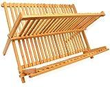 RoyalHouse Dish Drying Rack Bamboo Dish Rack Collapsible Dish Drainer,...