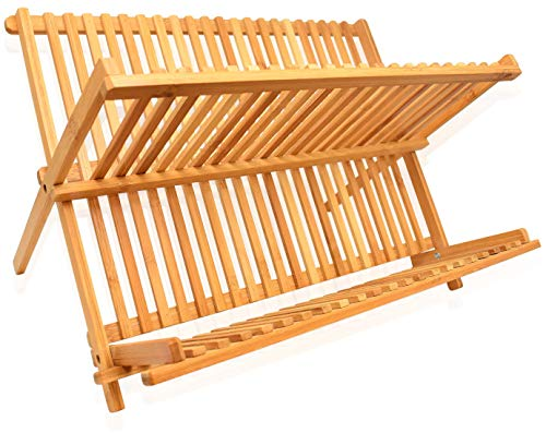 RoyalHouse Dish Drying Rack Bamboo Dish Rack Collapsible Dish Drainer, Foldable Dish Drying Rack Wooden Plate Rack Made of 100% Natural Bamboo