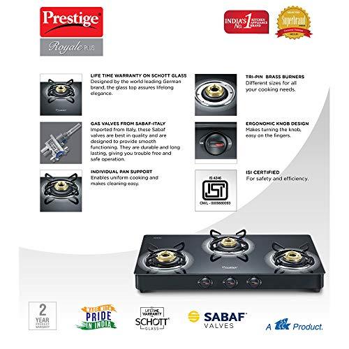 Prestige Royale Plus Schott Glass 3 Burner Gas Stove, Manual Ignition, Black