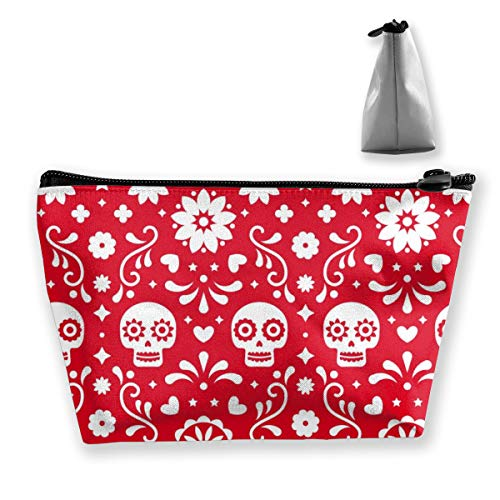Multi-Functional Print Trapezoidal Storage Bag for Female Skulls Flowers Red