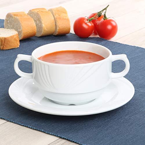 Holst Porzellan Lub 530 SET 2 - Taza sopera (porcelana, 0,30 L, con plato)
