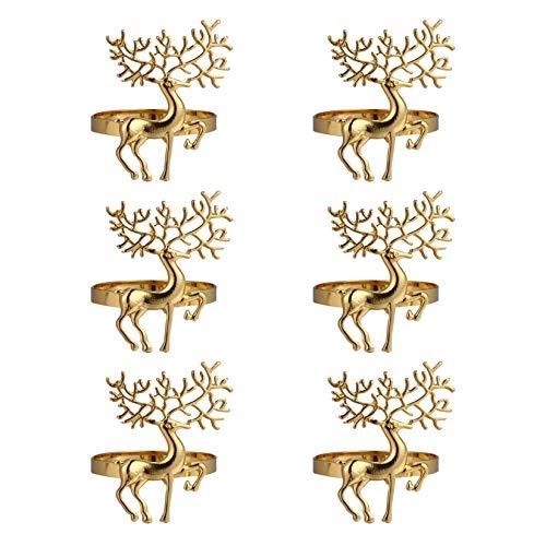 Christmas Napkin Rings- 6 Pcs Gold Christmas Alloy Napkin Ring Holder Household Napkin Buckle for Table Decor, Wedding, Xmas, Party Dinner, Thanksgiving (Reindeer)