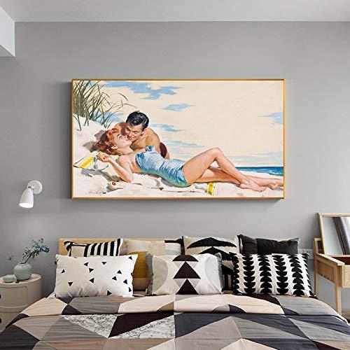 Pintura al óleo romántica Hombre Mujer Playa Amor Impresiones en lienzo Pintura Arte de la pared Cartel Imagen de paisaje nórdico para la decoración del hogar 30x45CM Sin marco