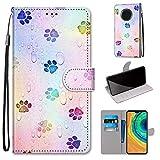 Miagon Flip PU Leder Schutzhülle für Huawei Mate 30,Bunt Muster Hülle Brieftasche Case Cover Ständer mit Kartenfächer Trageschlaufe,Fußabdruck