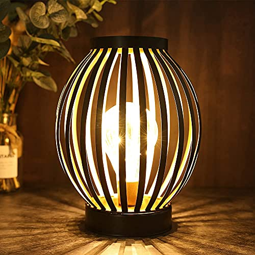 JHY DESIGN faroles metálicos con jaula LED lampara bateria 22cm luz decorativa inalámbrica con bombilla LED estilo Edison para balcón interiores y exteriores bodas fiestas(Bronce, forma redonda)
