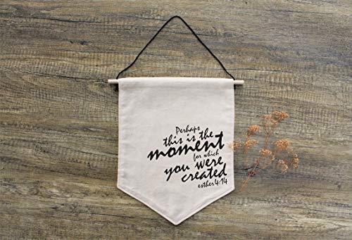 Inspirationele Quote Muur Art, Womens Gift, Stof Teken, Vlag Muur Ophanging, Positieve bevestigingen, Misschien is dit het moment, Esther 4:14 Banner Vlag