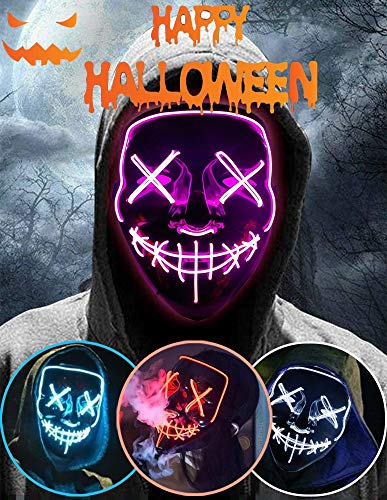 Halloween Led Light Up Mask, Purge Mask, Scary Mask Cosplay Led Costume Mask for Kids, Men & Women with EL Wire Light up for Halloween, Festival Party, Masquerade, Carnival Pink