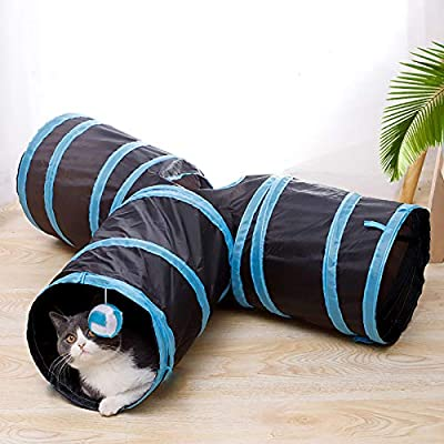 iCAGY Cat Tunnels for Indoor Cats Interactive, Rabbit Tunnel Toys, Pet Toys Play Tunnels for Cats Kittens Rabbits Puppies Crinkle Collapsible Pop Up 3 Ways Black from iCAGY