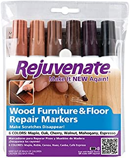 Rejuvenate RJ6WM Wood Furniture & Floor Repair Markers, 6 Assorted Tones - Quantity 1