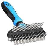 Cepillo para perros y gatos – Cepillo de 2 caras para perros y gatos, cepillo para debajo del pelaje inferior para eliminar el pelo muerto, enredos, enredos para el pelo largo (azul)