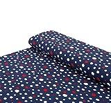 Nadeltraum Baumwoll - Jersey Stoff Bunte Punkte blau -