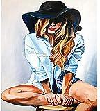 ANnjab 5D Diamant Peinture Kit T-Shirt Fille Plein carré 40x50 cm mosaïque Point de Croix Kit Broderie à la Main Artiste Maison décoration Murale