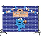 Feliz cumpleaños azul temático fiesta decoración telón de fondo para fotografía Custom Sesame Street Fondos Estudio Proveedor Banner vinilo 1.5 x 2.1 m