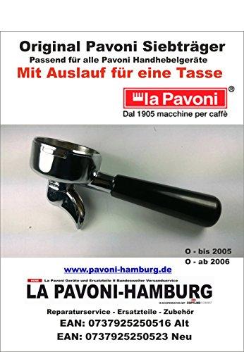 Pavoni Siebträger Original mit Auslauf für eine Tasse, passend ab 2006