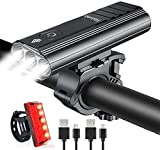 Hatonky Rechargeable USB Bike Lights Set, 5200mAh Super Bright 3000 Lumen USB Bicycle Lights, 5 Modes LED Bike Lights Front and Back Set, IPX6 Waterproof Headlights for All Bicycles