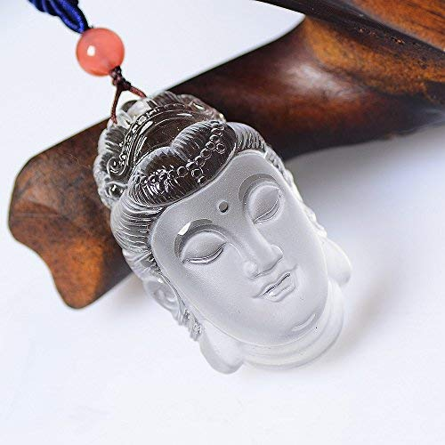 Yuanxi Jewelry Hand Carved Bodhisattva Pendant,Natural Crystal Quartz Jewelry Pendant,Amulet Necklace Hand Carved Natural (White Buddha)