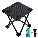 Portable Folding Camping Stool, Outdoor Mini Folding Stool, Folding Chair for Fishing Travel Hiking Garden and Beach, Oxford Cloth with Carry Bag (Black)