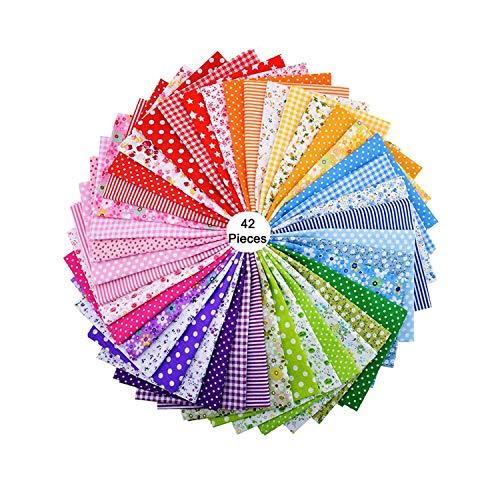 HENJI Baumwolle Stoff,42 Stück Patchwork Stoffe 100% Baumwolle,DIY Baumwolltuch,Bedruckter Baumwollstoff,für Kleidung, Bettwäsche, Vorhänge, Tischdecken usw. handgefertigt(25 x 25 cm)