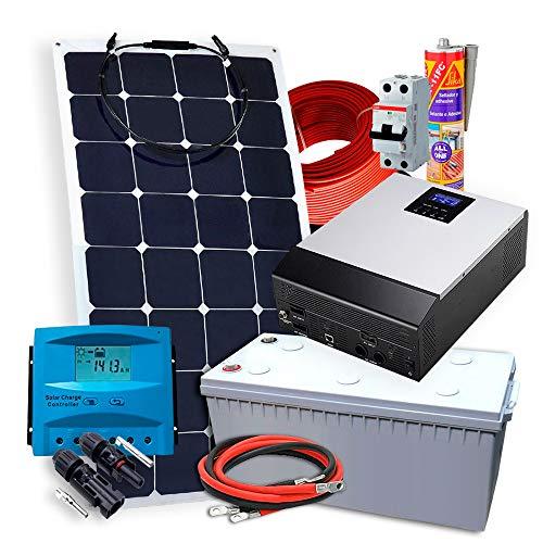 Kit Solar PlusEnergy 12V + 1 Panel Solar Flexible 150W + Inversor Híbrido 1Kva Regulador PWM 50Ah Cargador 20Ah + Batería AGM 150A