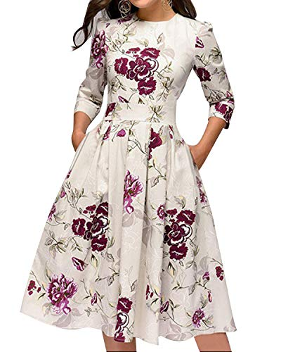 MINTLIMIT Damen 1950er Vintage Retro Cocktailkleid Rockabilly Kleider Petticoat Faltenrock Festliche Party Kleider Weiß#2754W L