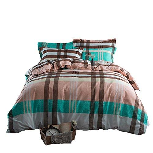 Preisvergleich Produktbild Rose Vierteiliges Baumwollschleifen,  Herren Bettwäsche,  vierteiliges Doppelbett,  einfach,  rosa-grün,  gestreift,  großes Quadrat,  warm,  1, 5 m,  1, 8 m,  2, 0 m. (Size : 1.8m)