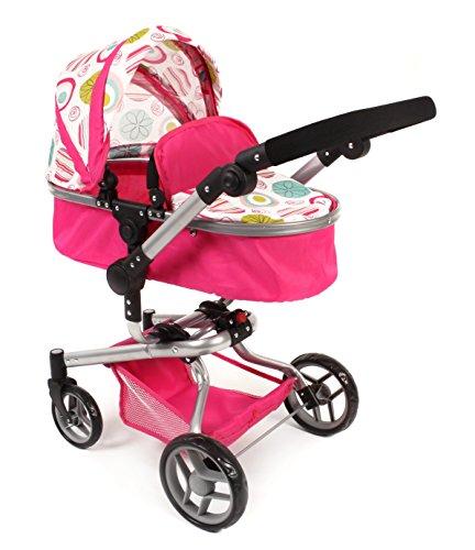 Bayer Chic 2000 - Grote combi-poppenwagen YOLO 2-in-1, voor kinderen vanaf 3 jaar wit-roze