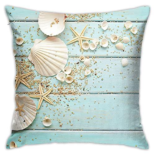 WAZHIJIA - Fundas de almohada decorativas (45,4 x 45,7 cm, algodón, lino, fundas de almohada cuadradas, para coche, sofá, decoración del hogar, playa, conchas