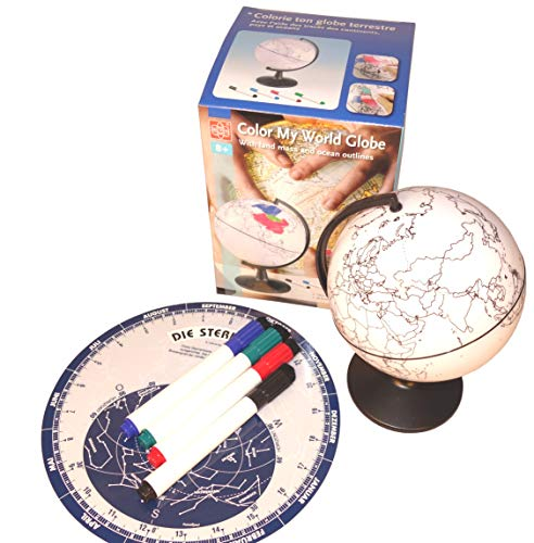 EDU-TOYS 13cm drehbarer Globus zum Ausmalen mit Standfuß und extra Sternkarte 40°