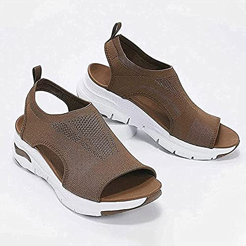 Summer Washable Slingback Orthopedic Slide Sport Sandals, Gradation Thick Bottom Fish Mouth Beach Casual Sandals Mesh Soft Sole Casual Women s Shoes (Brown, 9)