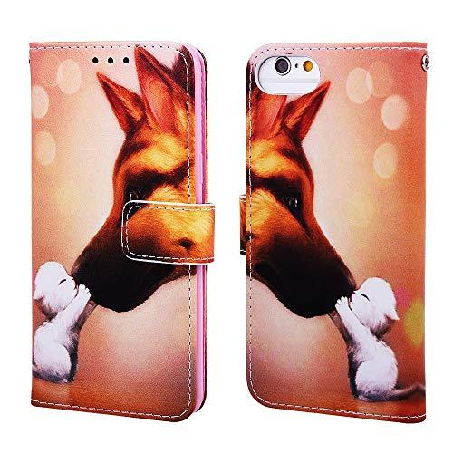 Nadoli Leder Hülle für iPhone SE 2020,Bunt Hund Malerei Ultra Dünne Magnetverschluss Standfunktion Handyhülle Tasche Brieftasche Etui Schutzhülle