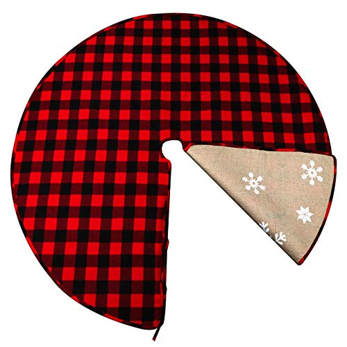 OurWarm 48 Inch Christmas Tree Skirt Red and Black Buffalo Plaid Christmas Tree Skirt, Double Sided Burlap Tree Skirt Snowflake Xmas Tree Skirt for Holiday Rustic Vintage Christmas Decorations