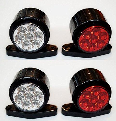 4 X côté Outline Feux de gabarit ampoules 24 V Remorque van Camion caravane Châssis pour camping-car Blanc Rouge