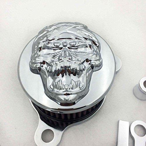 HTT Kit de filtre d'admission d'air chromé pour Harley Sportster XL883 XL1200 1988-1990 1991 1992 1993 1994 1995 1996 1997 1998 1999 2010 2011 201 12 20 13 2014 2015