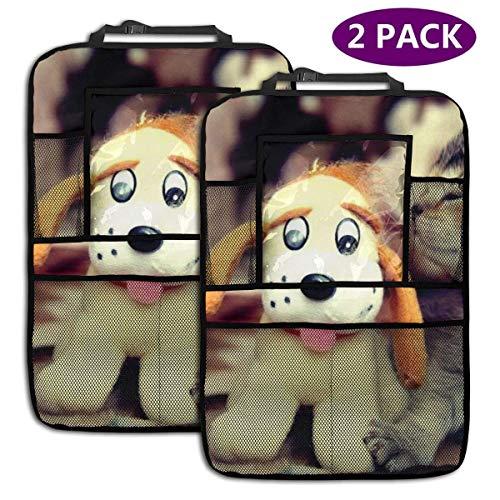 Organisateur de siège arrière de voiture Protecteurs de dossier de siège Kick Mats for Kids Toy Bottle Drink Vehicles Travel Accories 2 Pack, Cat And Toy Dog
