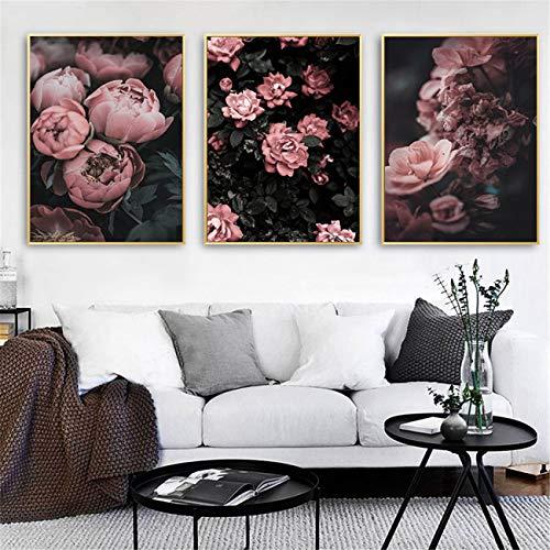 DOLUDO Wandkunst Dekoration Pfingstrose Rose Blume Leinwand Malerei 3 Stück Set Poster Leinwanddruck Wandkunst Malerei Dekoration Rosa Blume Bild für Wohnzimmer 50x70cm (Kein Rahmen)