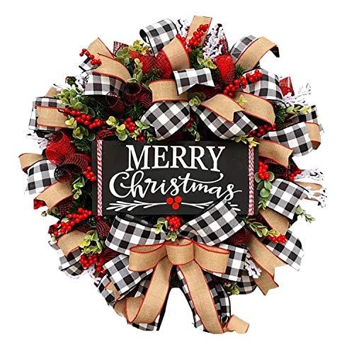 QOR Balance Christmas Buffalo Check Wreath Holiday Decor Outdoor Xmas Decorations,10 Inch Front Door Artificial Xmas Wreath Home Decor Wreath for Xmas and Winter Display (Xmas sign1)