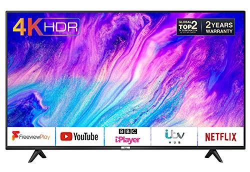 TCL 50P610K 50-Inch 4K Smart TV 3.0 Ultra HD - Freeview Play / BBC iPlayer / Netflix / YouTube / Smart HDR, Dolby Audio, Wi-Fi ,3*HDMI, 2*USB Port, Slim design, Black