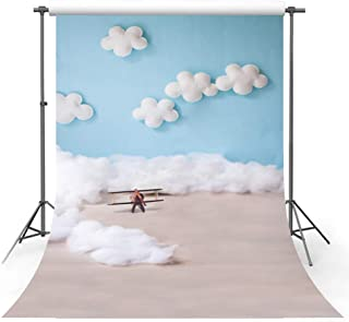 MEHOFOTO Cute Cartoon Blue Sky and White Cloud Boy Baby Birthday Party Banner Decoration Pilot Aircraft Bokeh Backdrops Props for Photography 5x7ft
