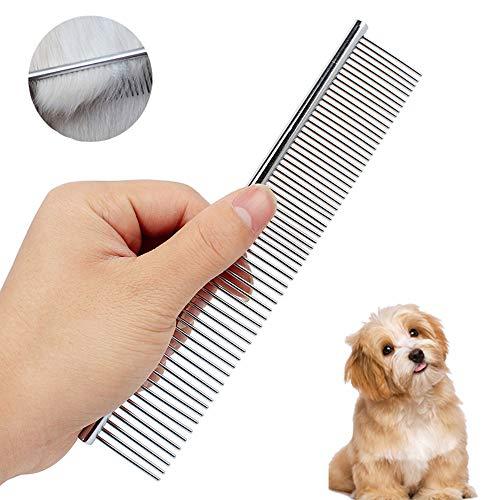 AUBEY Edelstahl Hundekämme, Staubkamm Metall Pflege Kamm für Katzen & Hunde, Stainless Steel Comb Haustier Bürste HundeBürste, Fellkamm feine und grobe Zinken