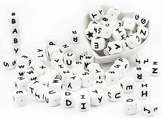 ARTESTAR 100 Pièces Perle Lettre Alphabet Silicone Attache Tetine Perles Silicone pour Attaches-sucettes Anneaux de dentit...