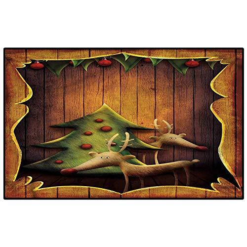 Christmas Children Play Princess Room Decor Rug Deers Tree Wood Frame Learning Carpets Carpet for Rooms Kids 6.5 x 8 Ft