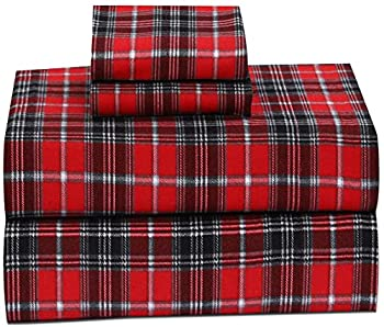Ruvanti 100% Cotton 4 Piece Flannel Sheets Queen - Deep Pocket - Warm - Super Soft - Breathable Flannel Bed Sheet Set Queen Include Flat Sheet Fitted Sheet & 2 Pillowcases   Christmas Red Plaid