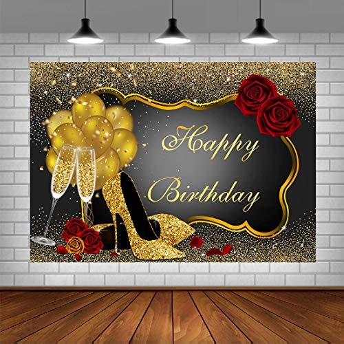 Happy Birthday Backdrop Glitter Gold Red Rose Floral Golden Balloons Heels Champagne Glass Background for Adults Women Birthday Party Decorations Birthday Party Decorations 5x3ft Vinyl